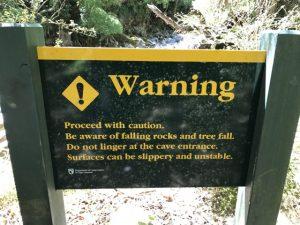 Rawhiti cave warning sign